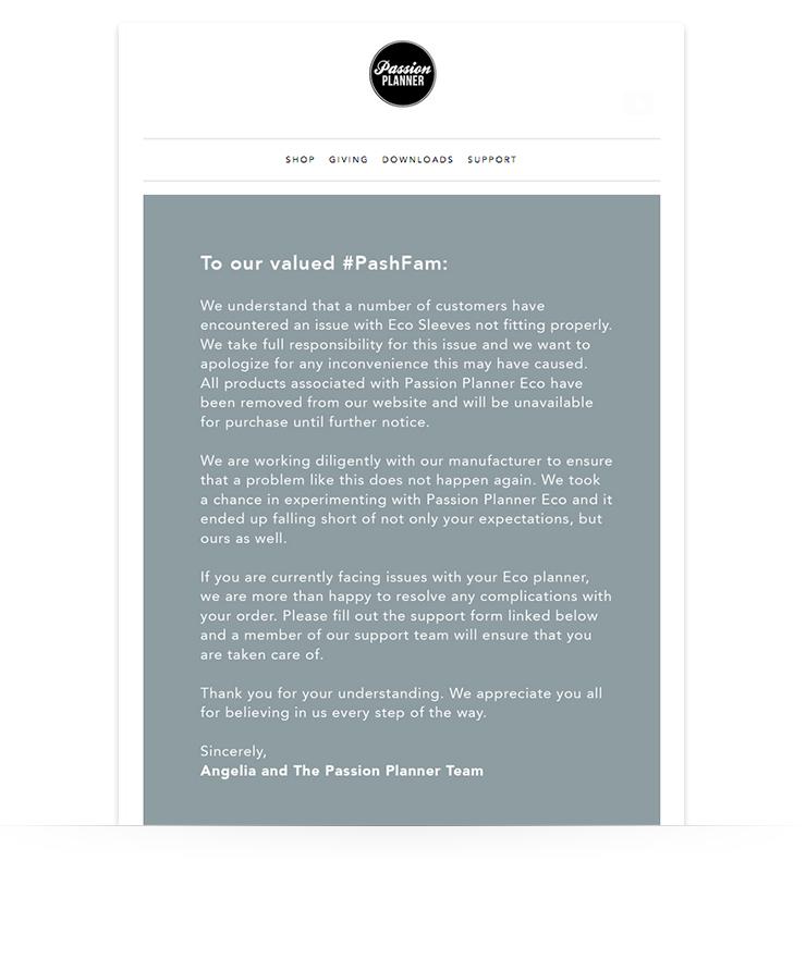 correo electrónico disculpándose por la mala experiencia