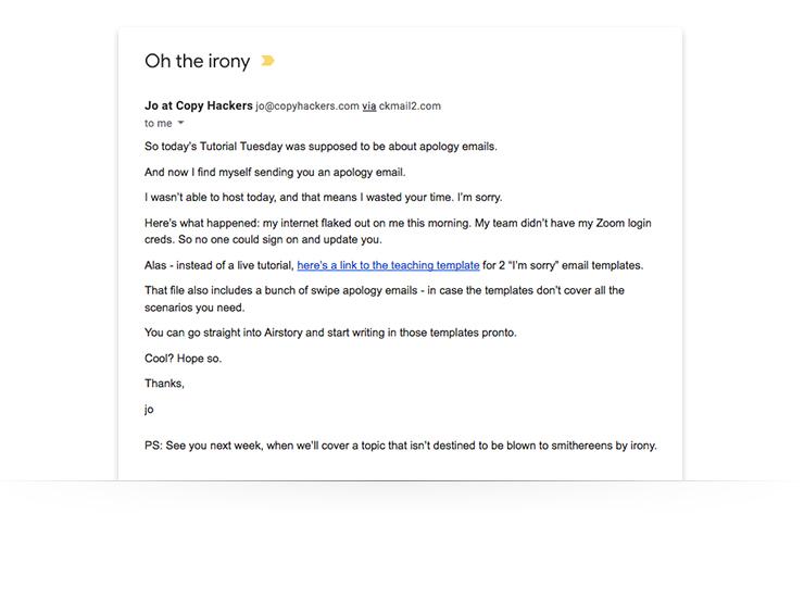 correo electrónico de marketing pidiendo disculpas por problemas técnicos