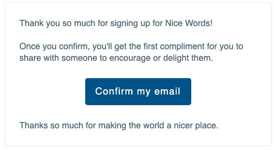 ejemplo de correo electrónico de suscripción confirmado
