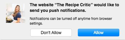 Ejemplo de una solicitud de notificación push web para participar