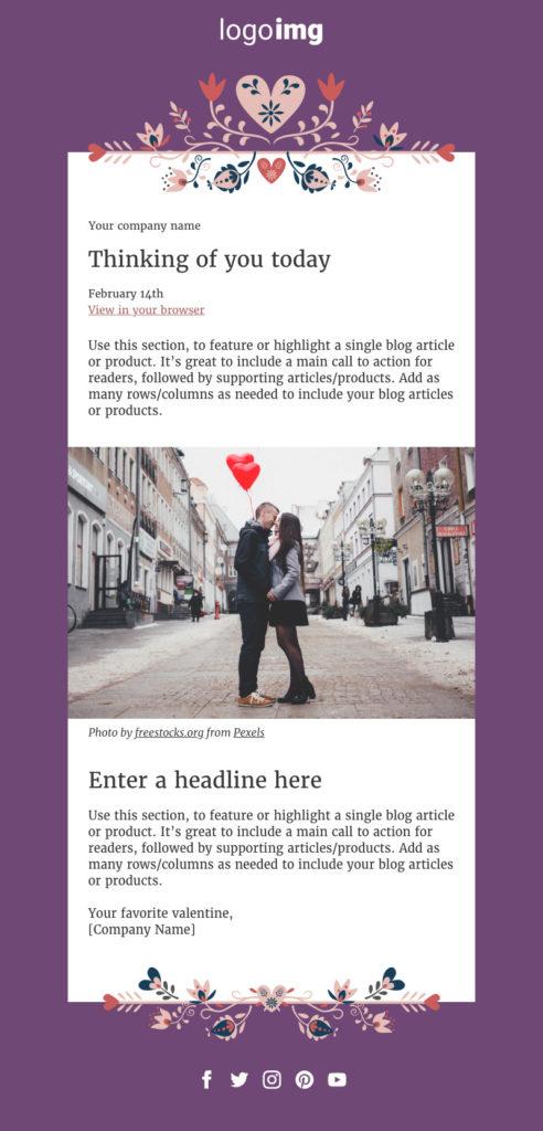 correo electrónico de diseño de San Valentín