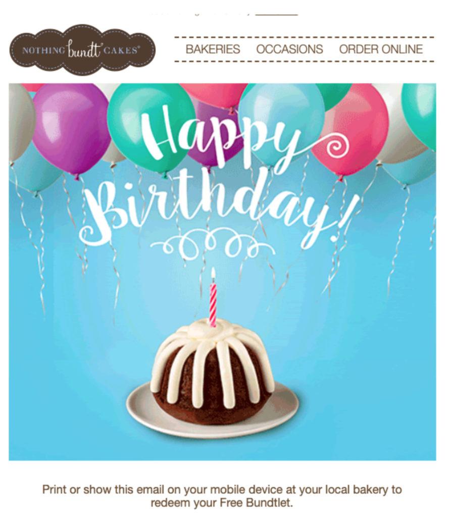 Ejemplo de correo electrónico de cumpleaños de Nothing Bundt Cake