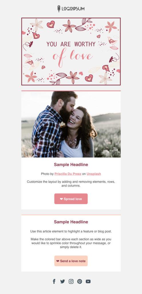 plantilla de correo electrónico de San Valentín