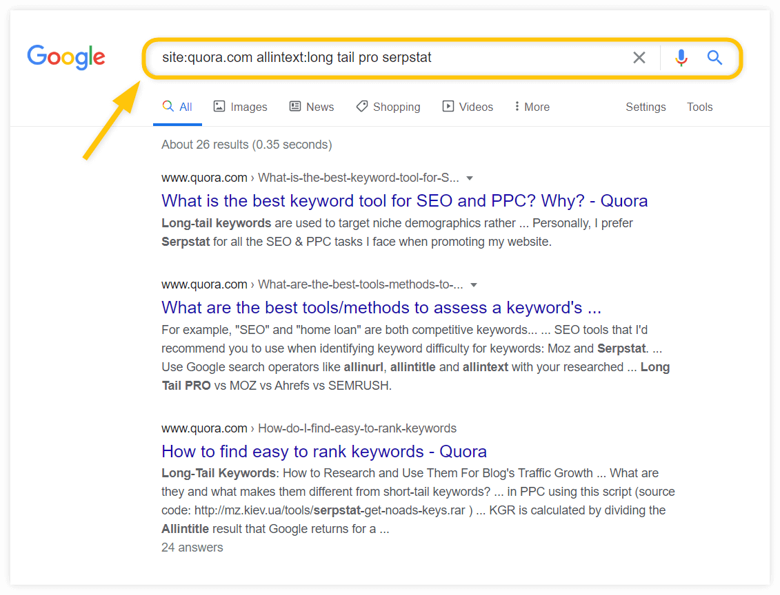 operador de búsqueda allintext