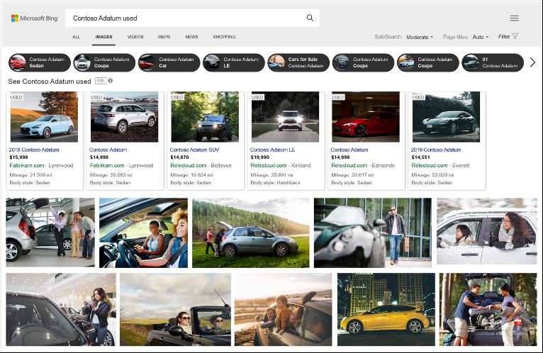 Ejemplo de resultados de imagen de Bing de anuncios automotrices