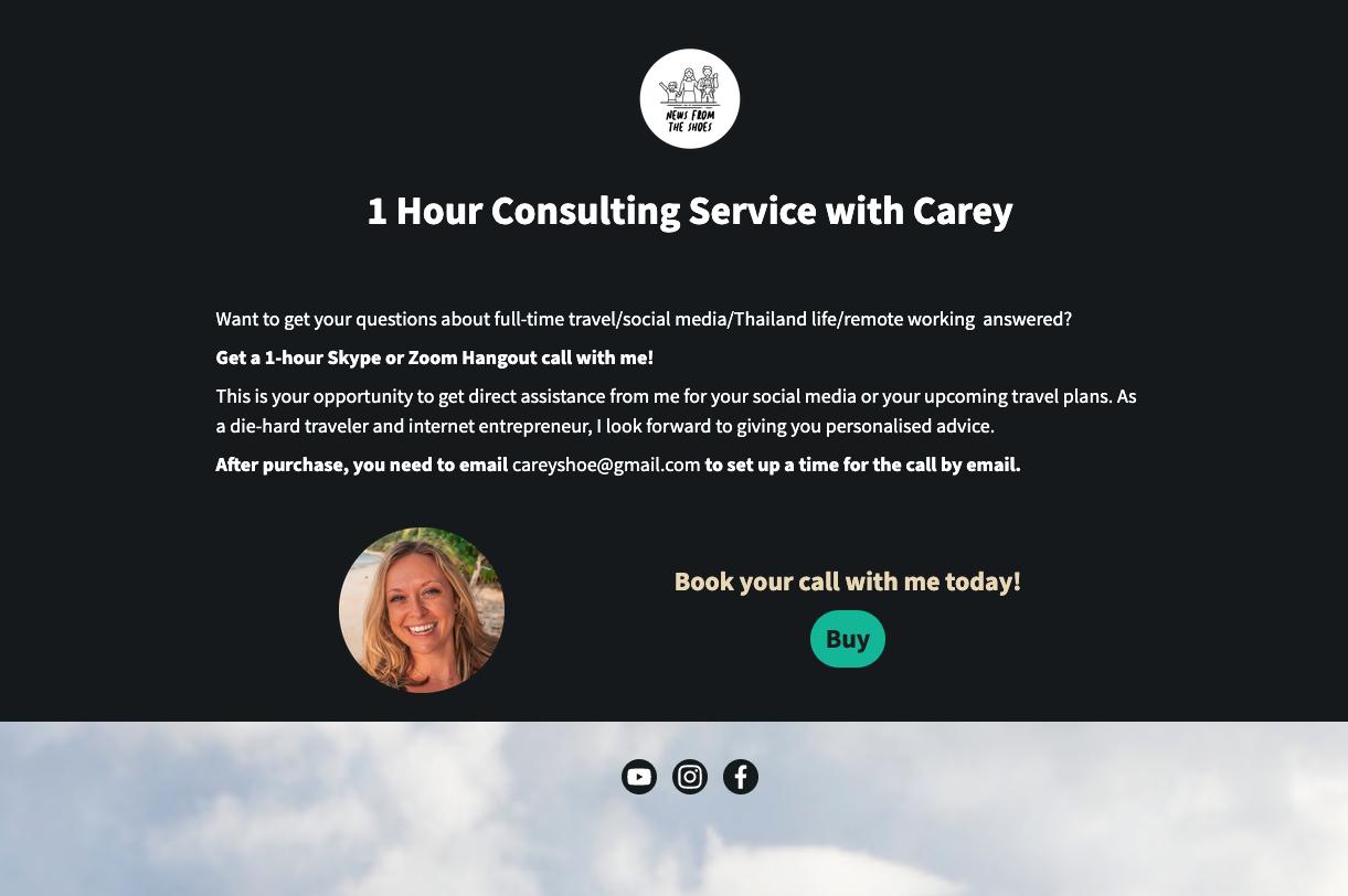 página de consultoría de comercio electrónico