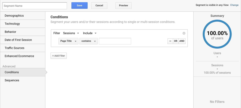 Agregar un nuevo segmento en Google Analytics para el título de la página visitada.