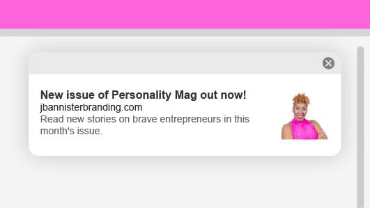 Ejemplo de notificación push web de J Bannister Branding.