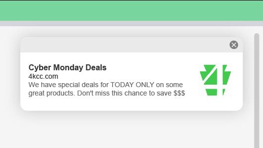 Ejemplo de notificación push web de 4KCC para ofertas de Cyber Monday
