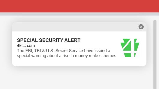 Ejemplo de notificación push web 4KCC para una alerta de seguridad