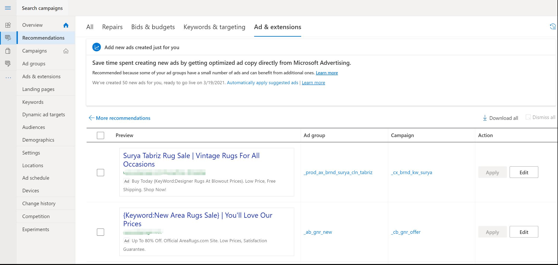 Microsoft aplicará automáticamente las sugerencias de anuncios