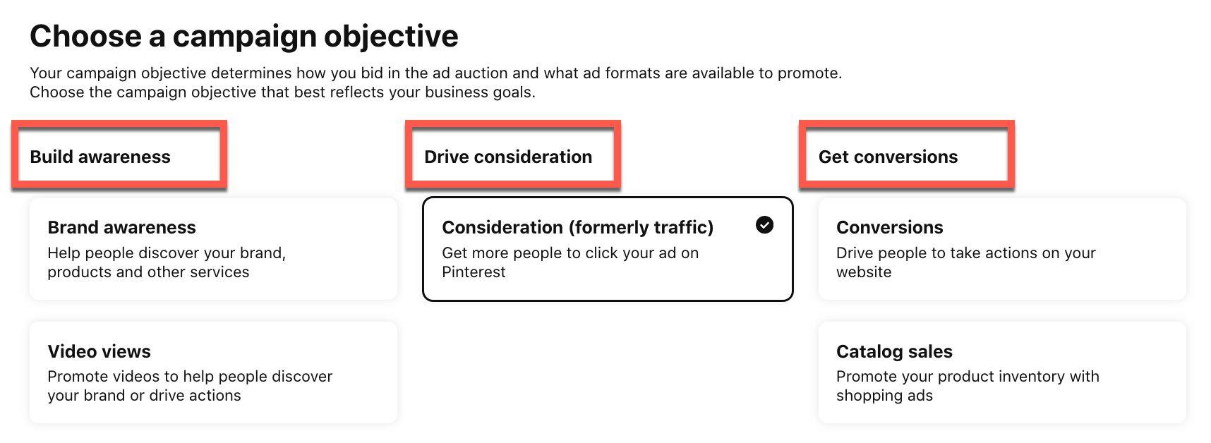 Elija los objetivos de su campaña en Pinterest Ads