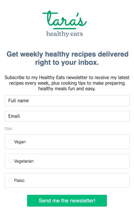 registro de personalización del formulario