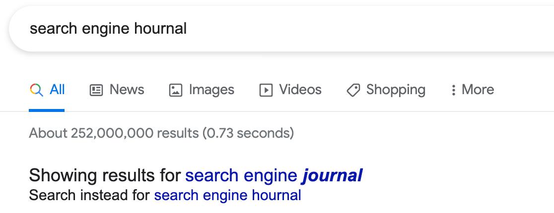 Error de ortografía en el diario del motor de búsqueda