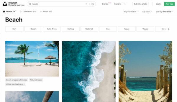 buscando en Unsplash imágenes de playa