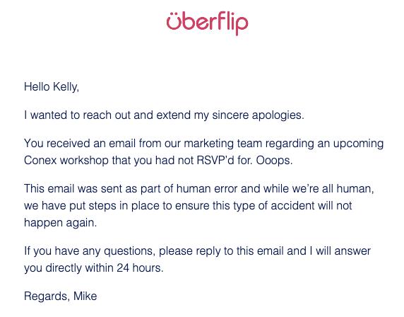 correo electrónico de disculpa uberflip