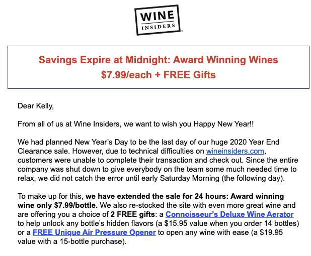 Correo electrónico de disculpa de Wine Insiders