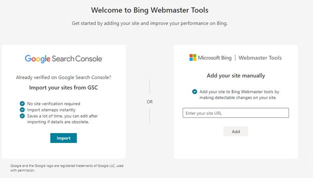 Herramientas para webmasters de Bing.