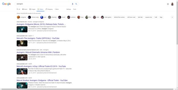 Búsqueda de videos de Google