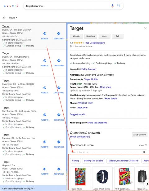 Widget de productos de Google Local Finder w