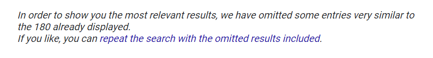 Notificación de búsqueda sobre resultados omitidos.