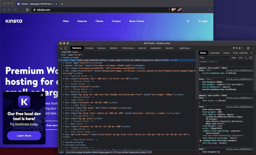 DevTools se puede encontrar en un navegador en negrita.