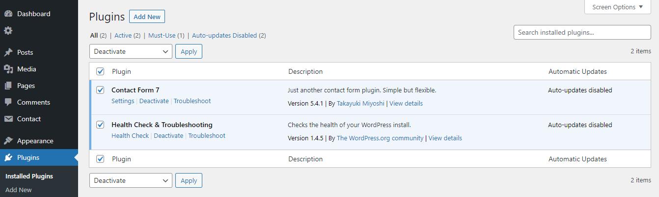Deshabilitar complementos instalados En WordPress.