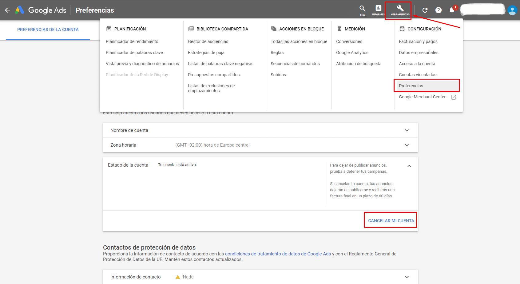 elimar cuenta google ads