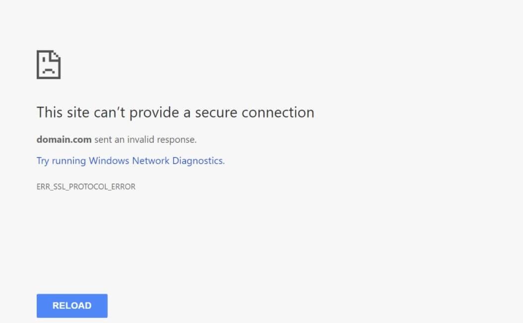 Error de conexión segura en Google Chrome.