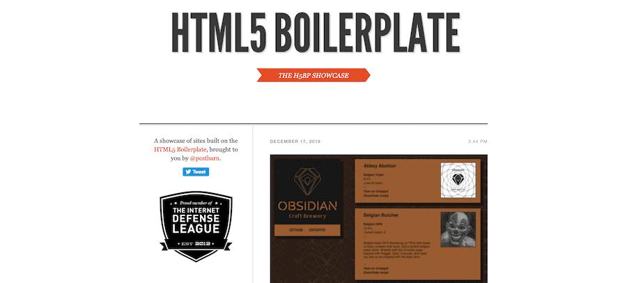 Página de inicio de la placa de caldera HTML5.