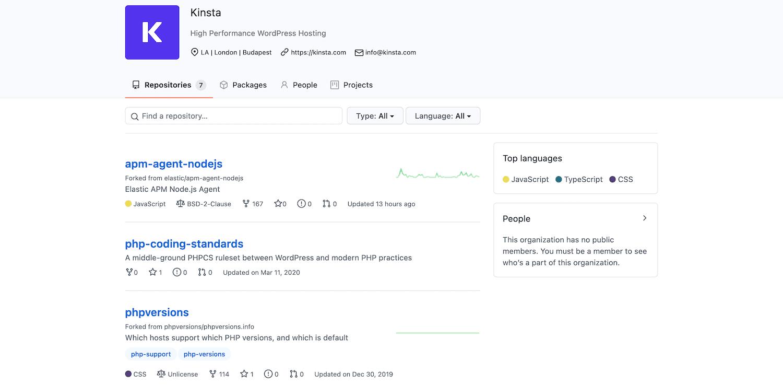 Página de GitHub de Kinstan.