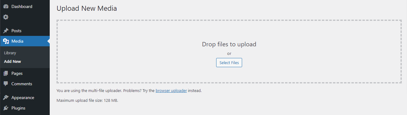 Verifique el tamaño máximo de archivo de carga en WordPress.
