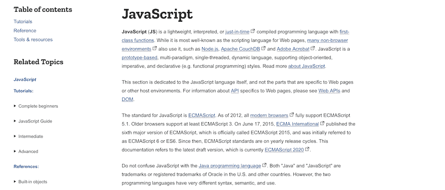 La página de JavaScript del documento web MDN.