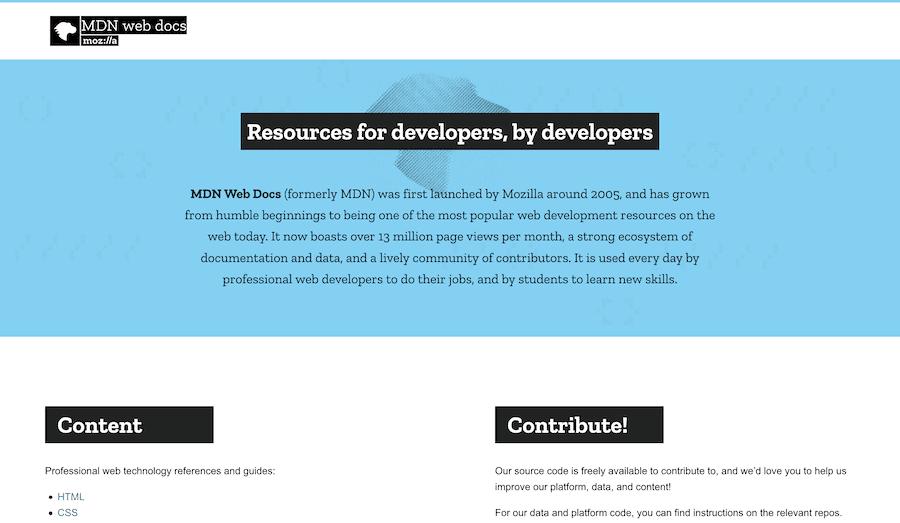 Página de inicio de la documentación web de MDN.