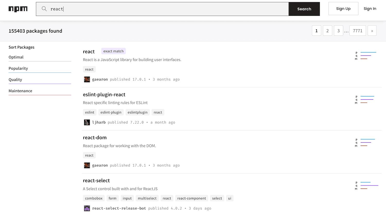 Las búsquedas se realizan en npm.