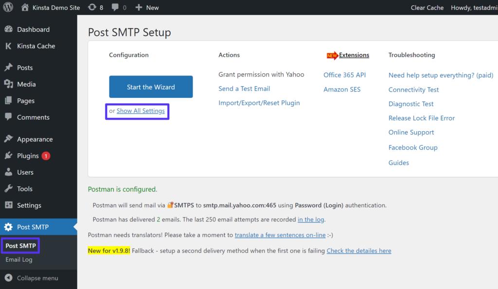 Ver todas las configuraciones en Publicar SMTP.