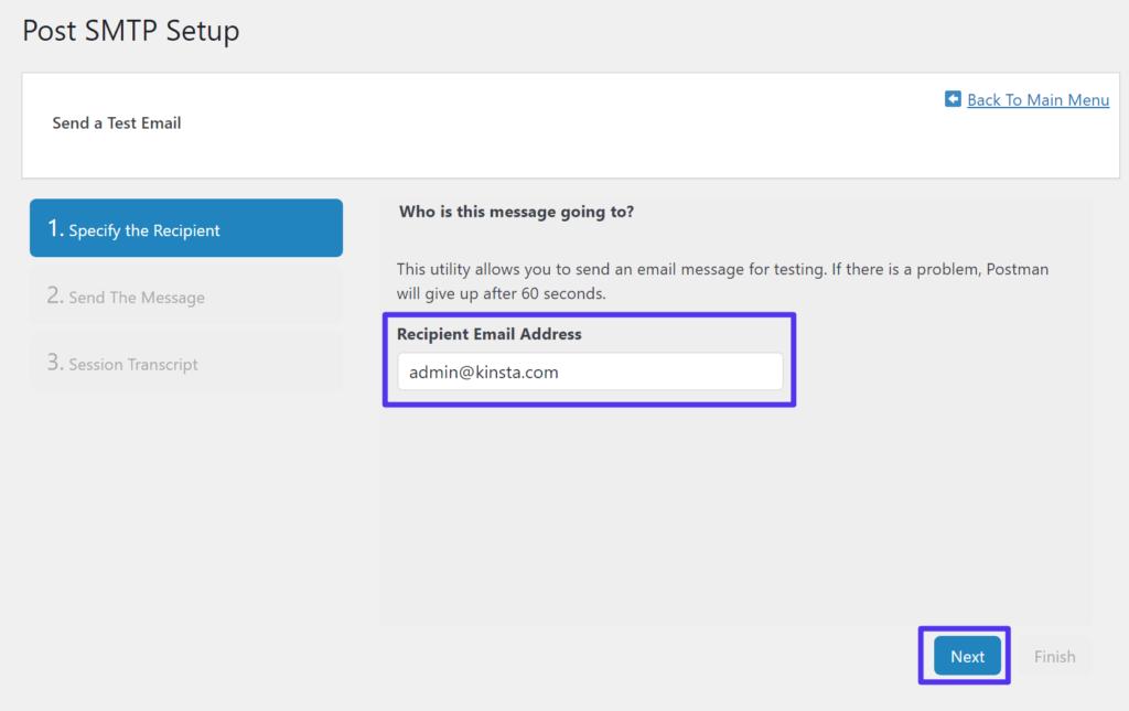 Ingrese la dirección de correo electrónico a la que desea enviar el mensaje de prueba