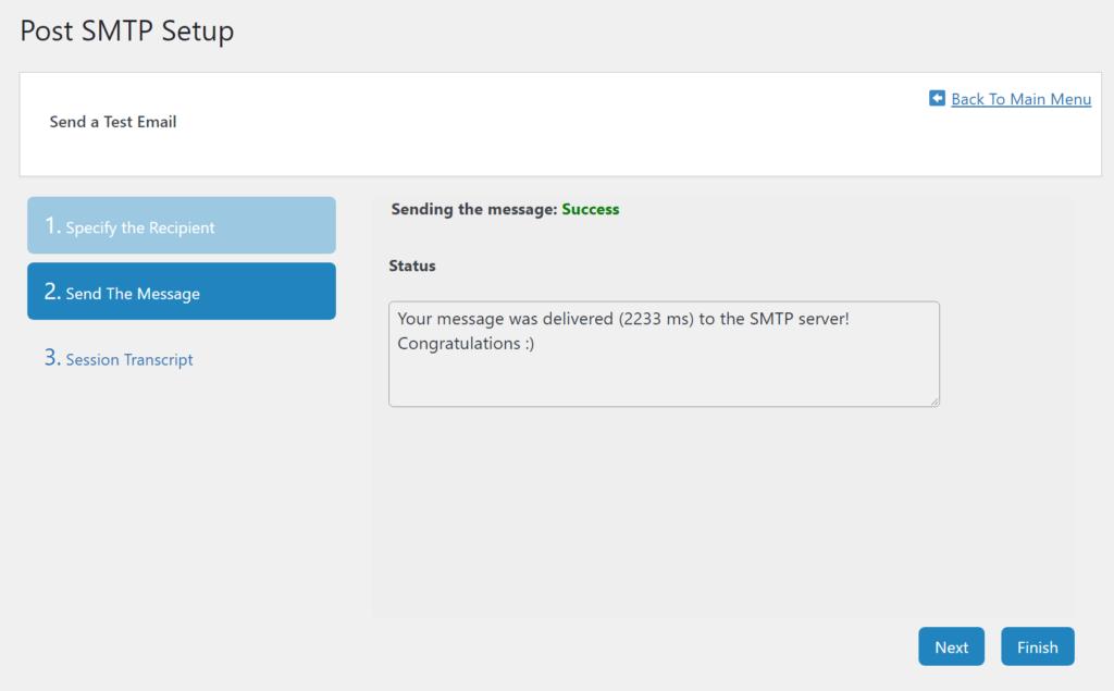 Mensaje de éxito en la publicación SMTP