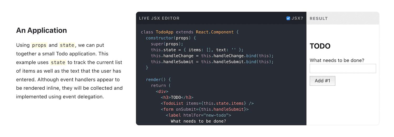 Ejemplo de código de React Sandbox.