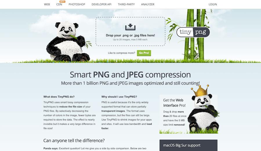 Sitio web de TinyPNG.