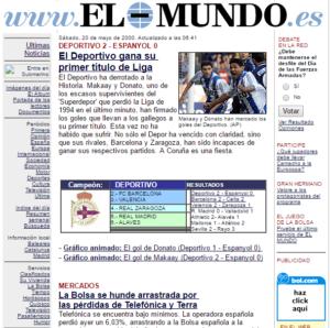 Ver páginas webs antiguas - Ejemplo El Mundo año 2000