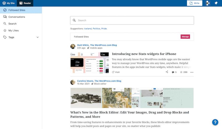 El fondo de pantalla Calypso de WordPress.com se basa en el servicio React.