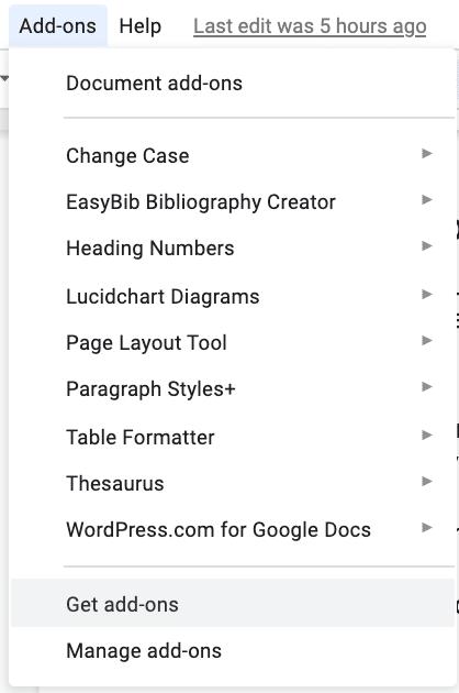 Descarga la extensión de Google Docs.