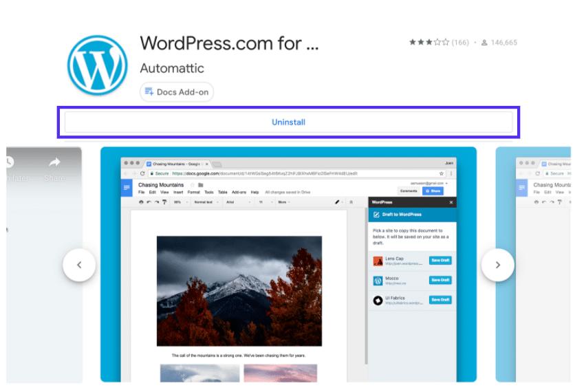 WordPress.com para Google Docs en Google Workspace Marketplace.