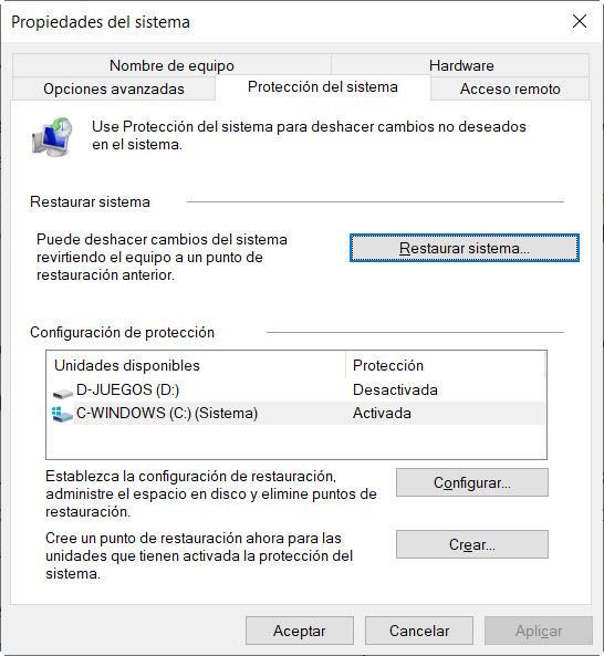 Crea un punto de restauración en Windows 10