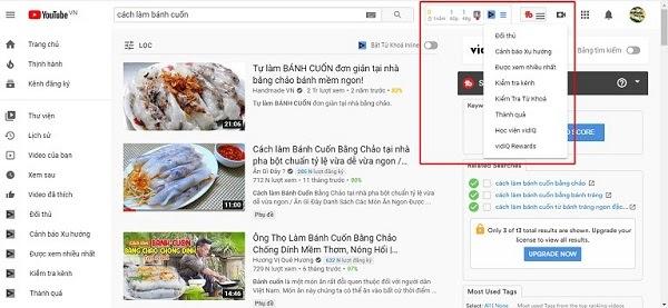 Algunas funciones útiles del motor de búsqueda de palabras clave VidIQ