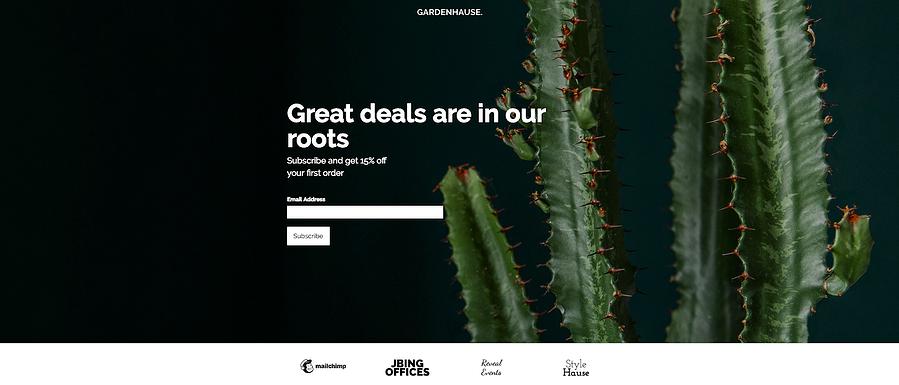 Plantilla de página de destino gratuita de MailChimp Gardenhouse