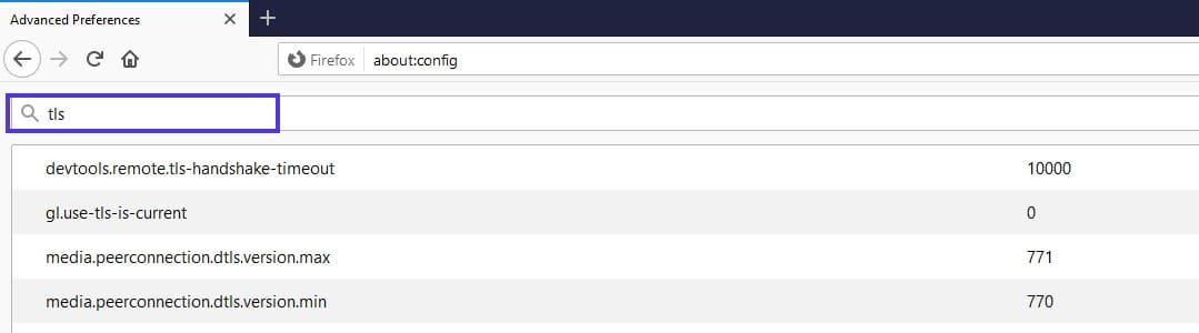 Barra avanzada en la pantalla de configuración de Firefox.