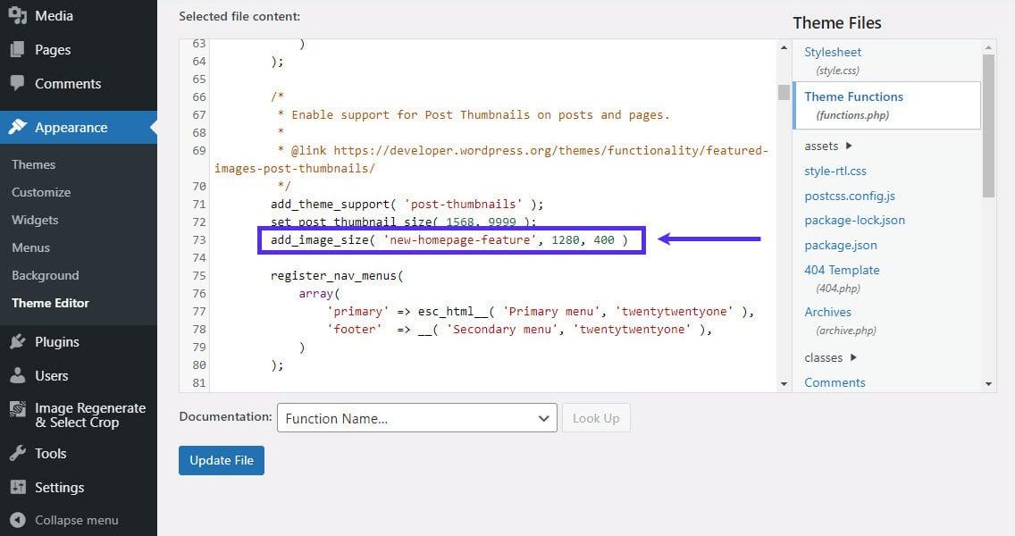 Agrega un tamaño de imagen personalizado a functions.php.