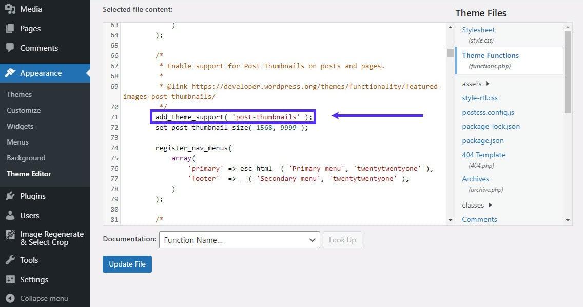 Agregue un tamaño de imagen personalizado para enganchar functions.php.